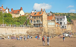 Robin Hood's Bay. And beach in Yorkshire on north east coast of England, start and  end of the coast to coast walk Royalty Free Stock Image