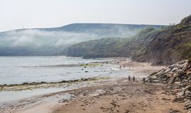 Robin Hood`s Bay seascape stock photos