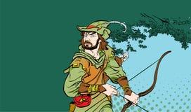 Robin Hood se tenant avec le tir à l'arc Robin Hood dans l'embuscade Défenseur de faible Légendes médiévales Héros de médiéval Photos stock