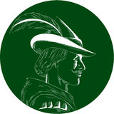 Robin Hood Side Profile Circle Woodcut. Illustration of a Robin Hood wearing medieval hat with a pointed brim and feather viewed from side set inside circle done Stock Images