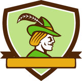 Robin Hood Side Ribbon Crest Retro. Illustration of a Robin Hood wearing medieval hat with a pointed brim and feather viewed from side set inside shield crest Royalty Free Stock Photography