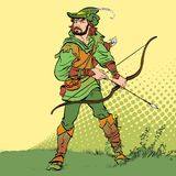 Robin Hood standing with bow and arrows. Robin Hood in ambush. Defender of weak. Medieval legends. Heroes of medieval Stock Photos