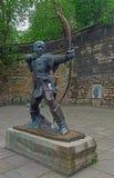 Robin Hood statue, Castle Place, Nottingham, Notts,. The Statue of legendary figure robin hood outside Nottingham castle black and white stock photo