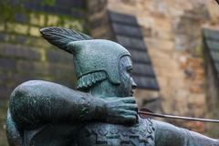 Robin Hood statue. Details of the superior area and head stock photos