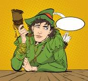 Robin Hood in un cappello con la piuma e un corno Dubbio del Robin Hood Defender di debole Leggende medievali Eroi di medievale Immagine Stock
