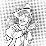 Robin Hood in un cappello con la piuma Protezione di debole Leggende medievali Eroi delle leggende medievali Priorità bassa di se Immagine Stock Libera da Diritti