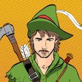 Robin Hood in un cappello con la piuma Protezione di debole Leggende medievali Eroi delle leggende medievali Priorità bassa di se Immagini Stock