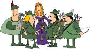 Robin Hood y sus felices hombres ilustración del vector
