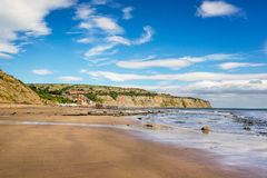 Robin Hoods Bay in England. The beach at Robin Hoods Bay on the north east coast of Yorkshire stock photo