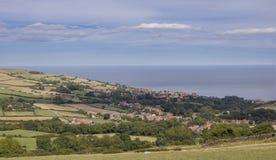 Robin Hoods Bay. Panorama of Robin Hoods Bay across fields royalty free stock photography