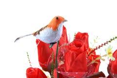 Robin op bloemen royalty-vrije stock fotografie