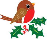 Robin Redbreast. A cartoon illustration. A traditiional christmas robin redbreast perched on some holly with bright red berries Stock Image