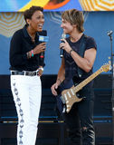 Robin Roberts, Keith Urban. NEW YORK-JUL 11: Robin Roberts (L) and Keith Urban on ABC's Good Morning America at Rumsey Playfield, Central Park, on July 11, 2014 stock photo