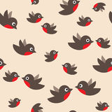 Robin seamless pattern Stock Photo