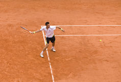 Robin Soderling of Sweden in action at French Op. PARIS - JUNE 7: Robin Soderling of Sweden in action at French Open, Roland Garros, final game on June 7, 2009 stock photo