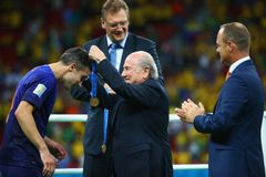 Robin van Persie and Sep Blatter Coupe du monde 2014 Stock Image