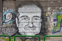 Robin williams graphite. BELGRADE, SERBIA - OCTOBER 5, 2014: - Robin Williams appeared on graphite in Karadjordjeva street in Belgrade, Serbia, on August 12 2014 Royalty Free Stock Photos