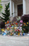 Robin Williams Memorial. Flowers left at the impromptu shrine for Robin Williams on the steps of the Mrs Doubtfire house in San Francisco, California Royalty Free Stock Photography