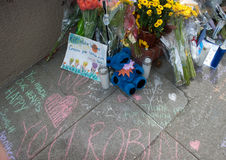 Robin Williams Memorial. Note left at the impromptu shrine for Robin Williams on the steps of the Mrs Doubtfire house in San Francisco, California Royalty Free Stock Photography