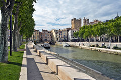 Robine Canal in historical center of Narbonne City Royalty Free Stock Images
