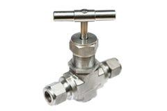 Robinet à tournant sphérique manuel ou robinet de bille d'acier inoxydable sur le fond blanc Image stock