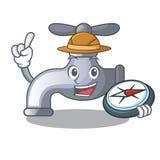 Robinet d'eau d'explorateur d'isolement sur le caractère illustration stock