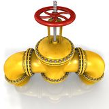 Robinet d'oléoduc de gaz ou avec une valve rouge sur le fond blanc Image libre de droits