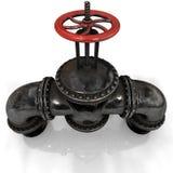 Robinet d'oléoduc de gaz ou avec une valve rouge sur le fond blanc Images libres de droits