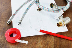Robinet et tuyaux flexibles Photo libre de droits