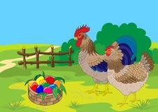 Robinet, poule et panier de Pâques avec des oeufs de couleur. Images stock