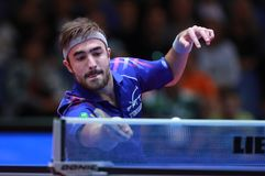 ROBINOT Quentin from France forehand. 2017 European Championships - First Round. Luxembourg Stock Photo