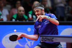 ROBINOT Quentin from France forehand. 2017 European Championships - Semi final. Luxembourg Stock Images