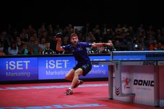 ROBINOT Quentin from France forehand. 2017 European Championships - Semi final. Luxembourg Royalty Free Stock Photography
