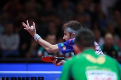 ROBINOT Quentin from France on serve. 2017 European Championships - Semi final. Luxembourg Royalty Free Stock Photo