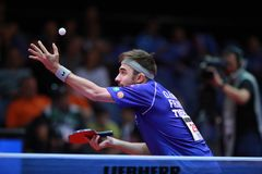 ROBINOT Quentin from France on serve. 2017 European Championships - First Round. Luxembourg Royalty Free Stock Photo