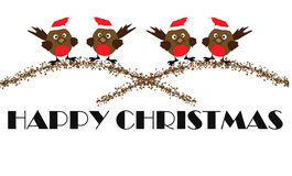Robins - Happy Christmas. Some festive robins with happy christmas royalty free illustration