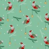 Robins op de naadloze pijnboom stock illustratie