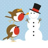 Robins and snowman. Humorous christmas card with cute robins putting a nose on a snowman Royalty Free Stock Photo