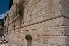Robinson Arc, Second Jewish Temple,Jerusalem. Walls of The Second Jewish Temple expanded by Herod currently used for islamic mosque Stock Photos