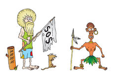 Robinson crusoe. With friday on island Stock Images
