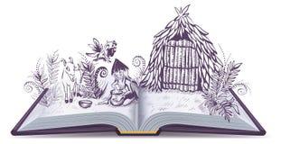 Robinson Crusoe on desert island. Open book adventure. Cartoon illustration Stock Images