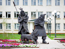 Robinson Crusoe and Friday - Monument in Tobolsk Royalty Free Stock Images