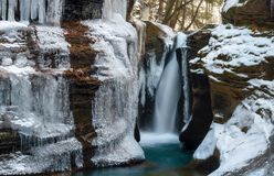 Robinson Falls, dichtbij Hocking-Heuvels, Ohio royalty-vrije stock foto's