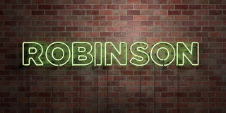 ROBINSON - fluorescent Neon tube Sign on brickwork - Front view - 3D rendered royalty free stock picture. Can be used for online banner ads and direct mailers Stock Photo