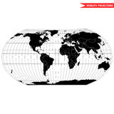 Robinson map projection. Of a world map which shows entire world at e as a flat image. Black and white world map vector illustration Stock Image