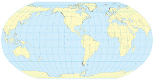 Robinson Map of the world America. Very high detailed map of the world in robinson projection with graticule. Centered in Americas. Elements of this image Stock Image