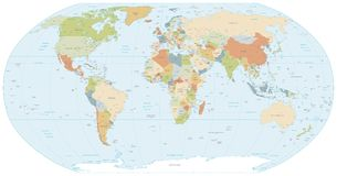 Robinson projection map of the World royalty free illustration