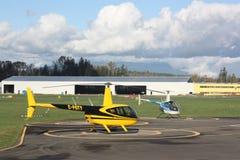 Robinson R44 Helicopters. Robinson R44 helicopter at Langley Municipal Airport, Langley, British Columbia Stock Photography