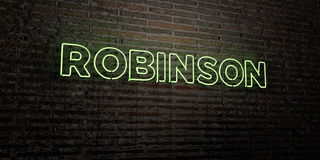 ROBINSON -Realistic Neon Sign on Brick Wall background - 3D rendered royalty free stock image. Can be used for online banner ads and direct mailers Stock Image