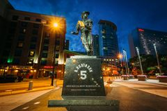 Robinson Statue at night in downtown Baltimore, Maryland.  royalty free stock photos